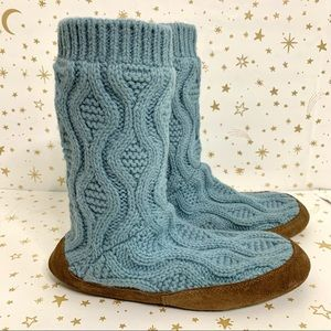 LLBean | Cable Knit Tall Slipper Sock Blue Medium